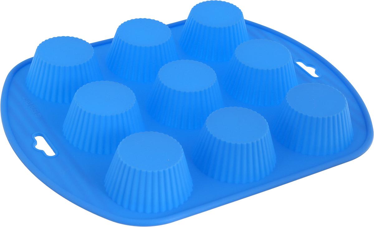 Форма для выпечки Доляна Рифленый кексик, цвет: голубой, 22 х 22 х 4 см, 9 ячеек1057128_голубойФорма для выпечки Доляна Рифленый кексик - современное решение для практичныхи радушных хозяек. Оригинальный предмет позволяет готовить в духовке любимые блюда, а также вкуснейшую выпечку.Особенности:- блюдо сохраняет нужную форму и легко отделяется от стенок после приготовления;- высокая термостойкость (от -40°С до +250°С) позволяет применять форму в духовых шкафах иморозильных камерах; - небольшая масса делает эксплуатацию предмета простой даже для хрупкой женщины;- силикон пригоден для посудомоечных машин; - высокопрочный материал делает форму долговечным инструментом;- при хранении предмет занимает мало места.Перед первым применением промойте предмет теплой водой. В процессе приготовленияиспользуйте кухонный инструмент из дерева, пластика или силикона. Перед извлечением блюдаиз силиконовой формы дайте ему немного остыть, осторожно отогните края предмета.