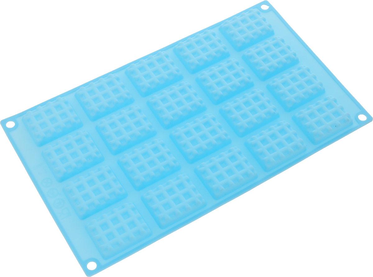 Форма для выпечки Marmiton Прямоугольное печенье, силиконовая, цвет: голубой, 20 ячеек форма для выпечки marmiton прямоугольное печенье силиконовая цвет желтый 20 ячеек