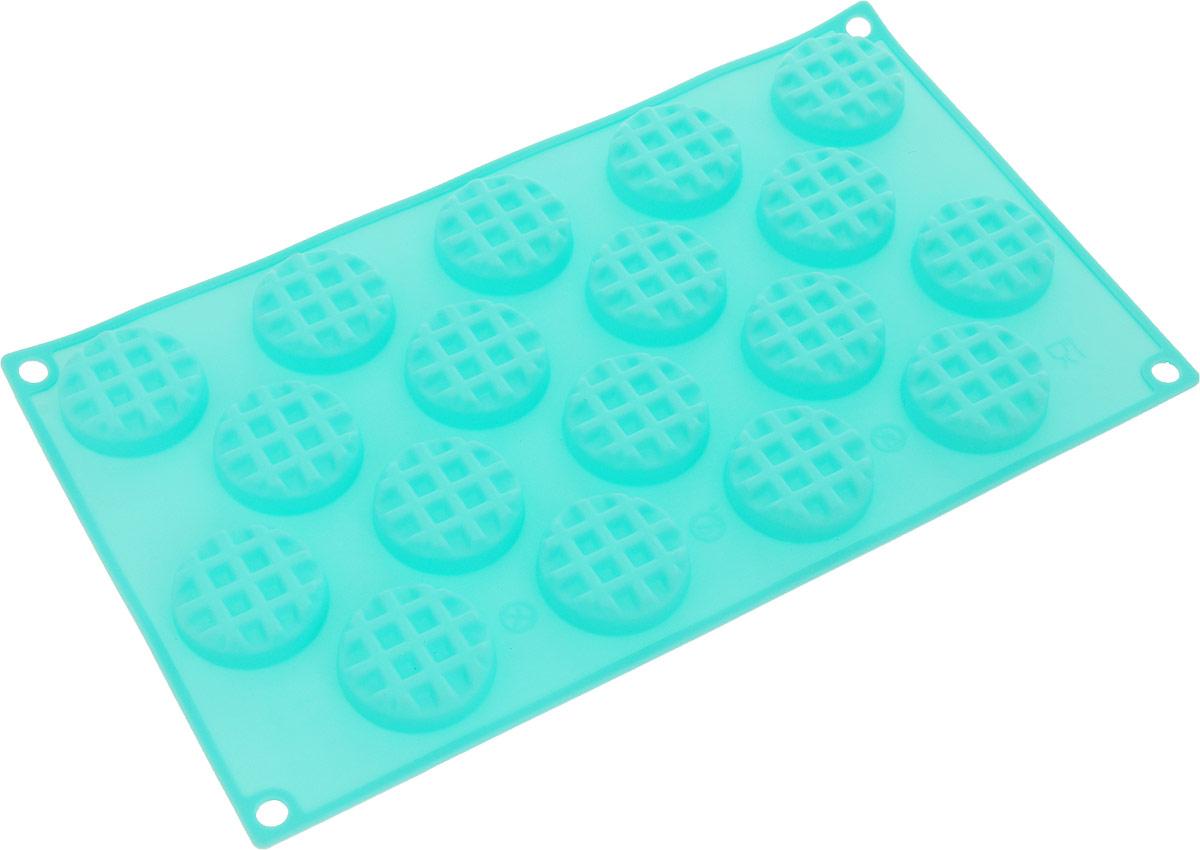Форма для выпечки Marmiton Круглое печенье, силиконовая, цвет: мятный, 18 ячеек17120Форма для выпечки Marmiton, выполненная из силикона, будет отличным выбором для всехлюбителей печенья. Форма обладает естественнымиантипригарными свойствами. Неприлипающая поверхностьидеальна для духовки, морозильника, микроволновой печи иаэрогриля. Готовую выпечку или мармелад вынимать легко ипросто.С такой формой вы всегда сможете порадовать своихблизких оригинальным изделием.Материал устойчив к фруктовым кислотам, может бытьиспользован в духовках и микроволновых печах (выдерживаеттемпературу от 230°C до - 40°C). Можно мыть и сушить впосудомоечной машине.