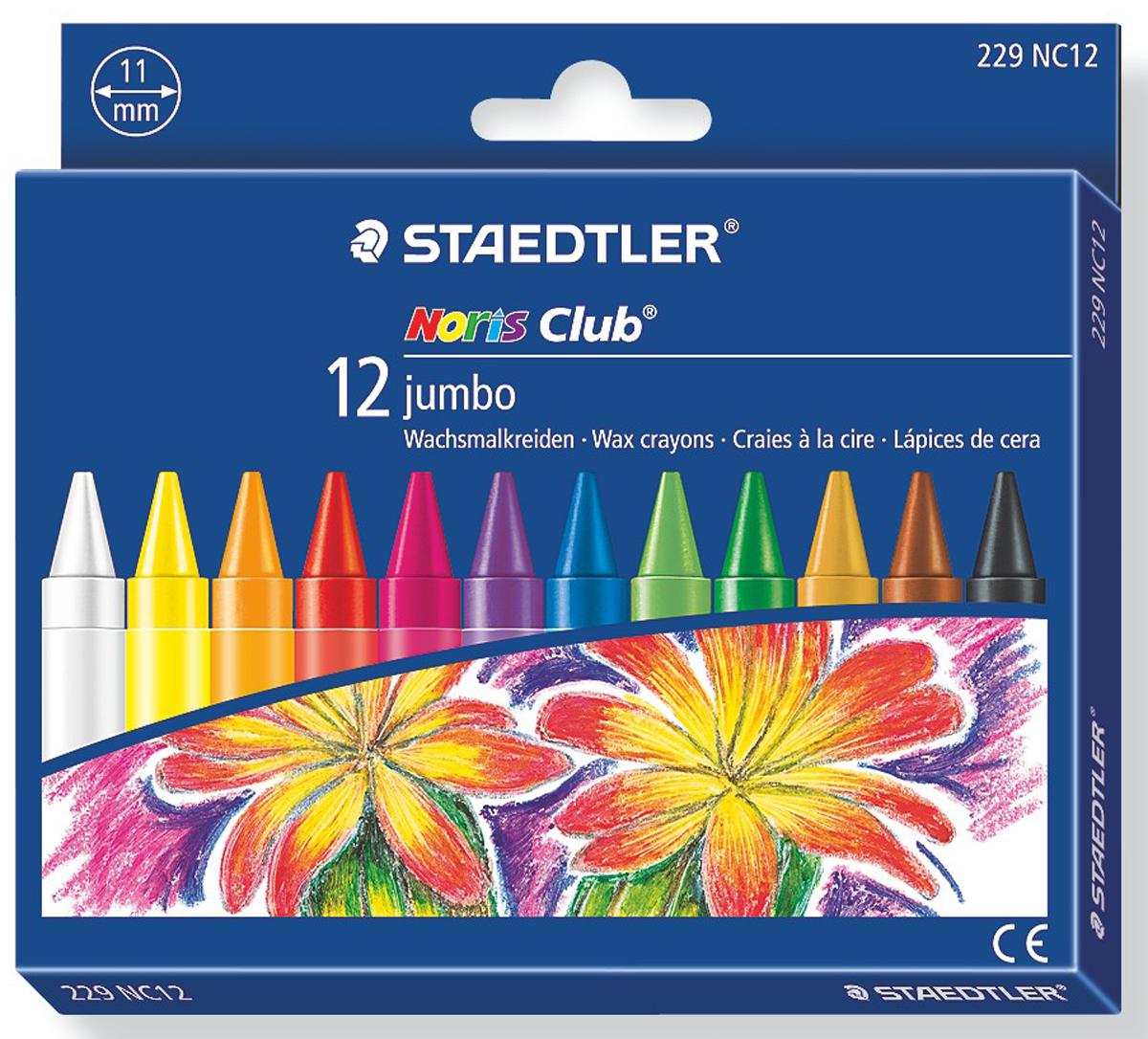 Staedtler Мелок восковой Noris Club 12 цветов staedtler staedtler цветные карандаши noris club утолщенные 10 цветов