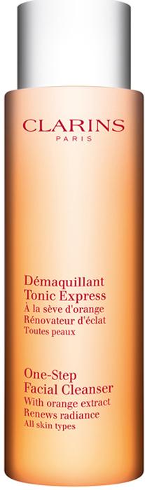 Clarins Тонизирующий лосьон для моментального очищения кожи с экстрактом апельсина Demaquillant Tonic, Express, 200 мл clarins смягчающий тонизирующий лосьон с алоэ вера 200 мл