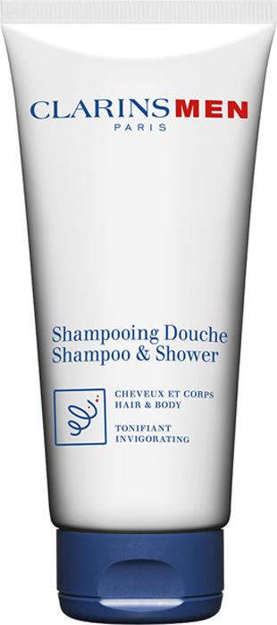 Clarins Тонизирующий шампунь-гель для волос и тела Men Shampooing Douche, 200 мл80039358Идеальное средство ухода для мужчин 2 в 1: можно использовать в качестве геля для душа и шампуня. Экстракты зубровки и галанги оказывают тонизирующее действие и дарят заряд бодрости на целый день. Провитамин В5 укрепляет волосы. Освежающие и успокаивающие эфирные масла улучшают настроение. Подходит для всех типов кожи и волос.