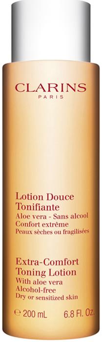 Clarins Смягчающий тонизирующий лосьон для очень сухой и чувствительной кожи Lotion Douce Tonifiante, 200 мл clarins смягчающий тонизирующий лосьон с алоэ вера 200 мл