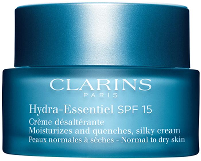 Clarins Интенсивно увлажняющий крем для нормальной и склонной к сухости кожи Hydra-Essentiel SPF 15, 50 мл80018819Крем с легкой тающей текстурой восстанавливает способность кожи удерживать воду, помогая ей сохранять оптимальный уровень увлажнения в любых обстоятельствах. Входящий в состав формулы органический экстракт каланхоэ запускает естественные механизмы увлажнения кожи, стимулируя синтез гиалуроновой кислоты*. Хорошо увлажненная кожа становится гладкой и упругой, излучает здоровое сияние и чувствует себя комфортно. А фильтры SPF 15 защищают ее от вредного воздействия УФ-лучей. *Молекула, обладающая способностью как губка впитывать и удерживать воду во всех слоях кожи.