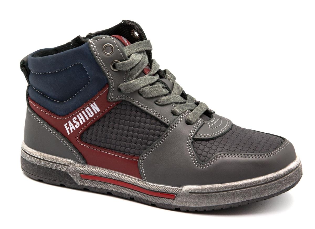 Ботинки для мальчика Счастливый ребенок, цвет: серый. A 3002-3. Размер 33A 3002-3Удобные ботинки Счастливый ребенок, выполненные в спортивном стиле, станут отличным дополнением гардероба маленького непоседы. Ботинки выполнены из искусственной кожи и оформлены контрастной строчкой и контрастными вставками. Подкладка и стелька из мягкого текстиля обеспечивают комфорт и уют во время носки. Классическая шнуровка и застежка-молния с внутренней стороны изделия надежно фиксируют модель на ноге и облегчают надевание. Рифленая подошва из легкого термопластичного материала обеспечивает надежное сцепление с любой поверхностью и защищает от скольжения во время движения.