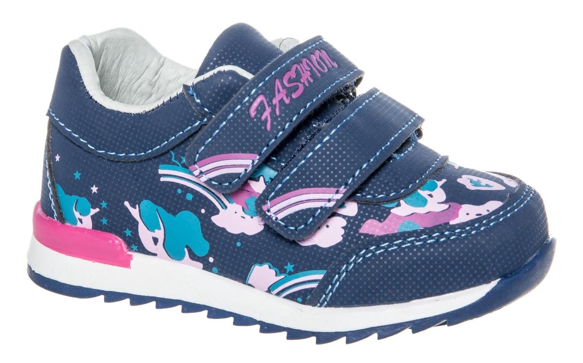 Кроссовки для девочки Счастливый ребенок, цвет: темно-синий. WH 71009-1. Размер 24WH 71009-1