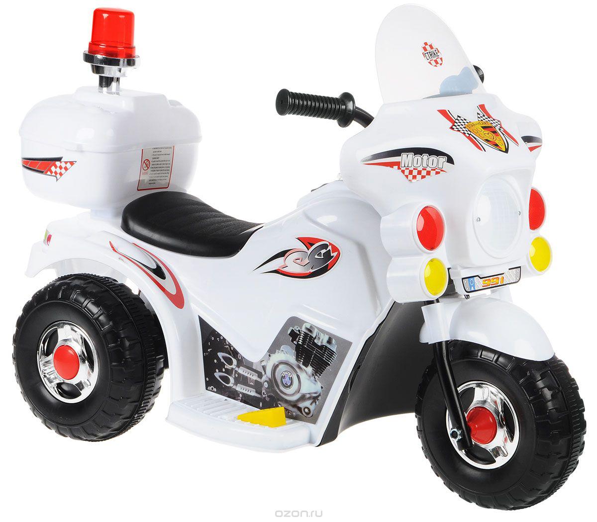 Электромотоцикл с маячком LL-999 цвет белый - Электромобили