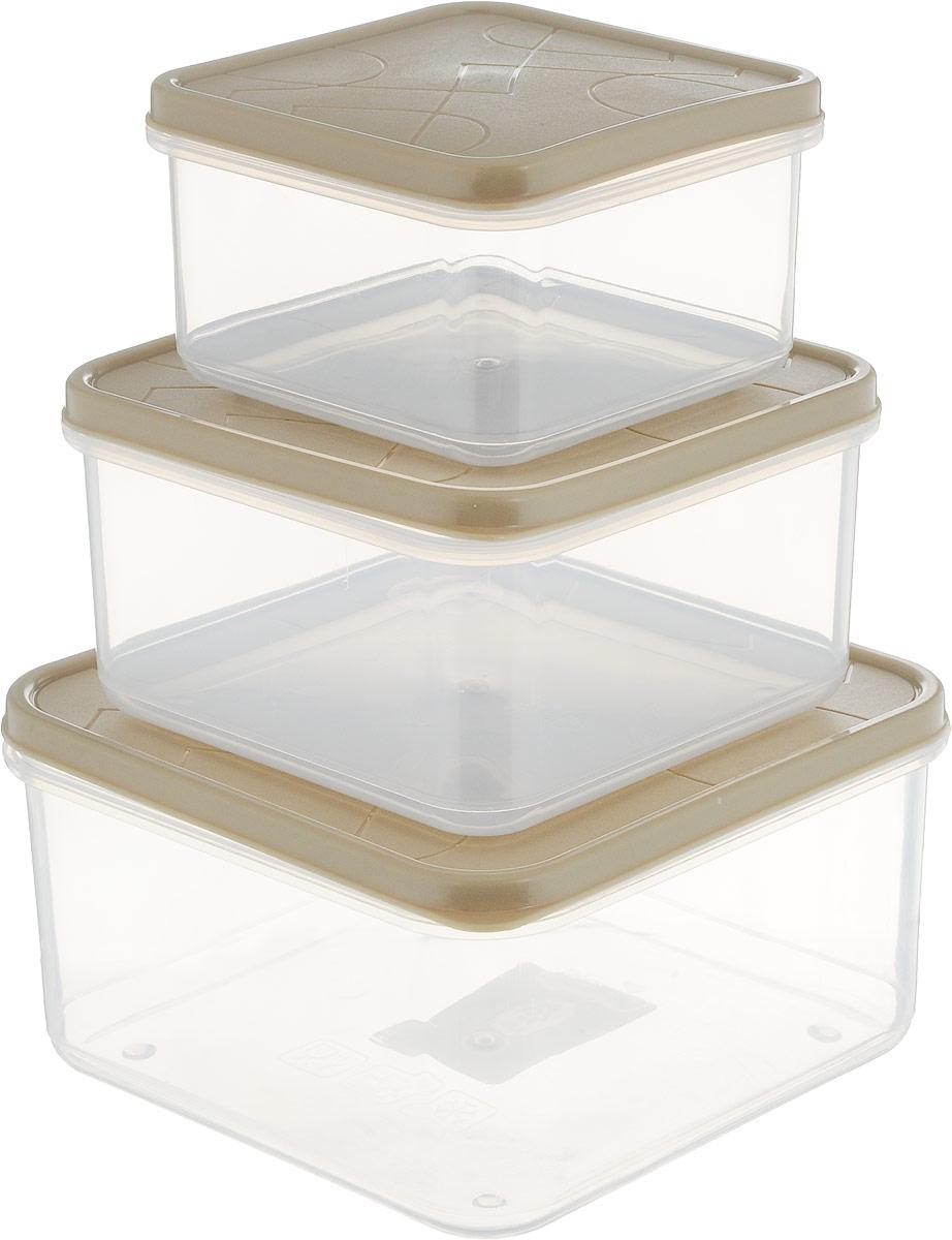 Набор контейнеров для продуктов Giaretti Vitamino, квадратные, цвет: бежевый, прозрачный, 3 штGR1858_бежевыйГерметичные контейнеры от Giaretti имеют целый ряд преимуществ:контейнер подходит для хранения продуктов в морозильной камере, атакже для разогрева вмикроволновой печи;благодаря воздухонепроницаемой крышке продукты хранятся дольше; разные литражи и формы контейнеров.Контейнеры вкладываются друг в друга по принципу матрешки экономяпространство прихранении.Объем контейнеров: 0,4 л, 0,7 л, 1,2 л.