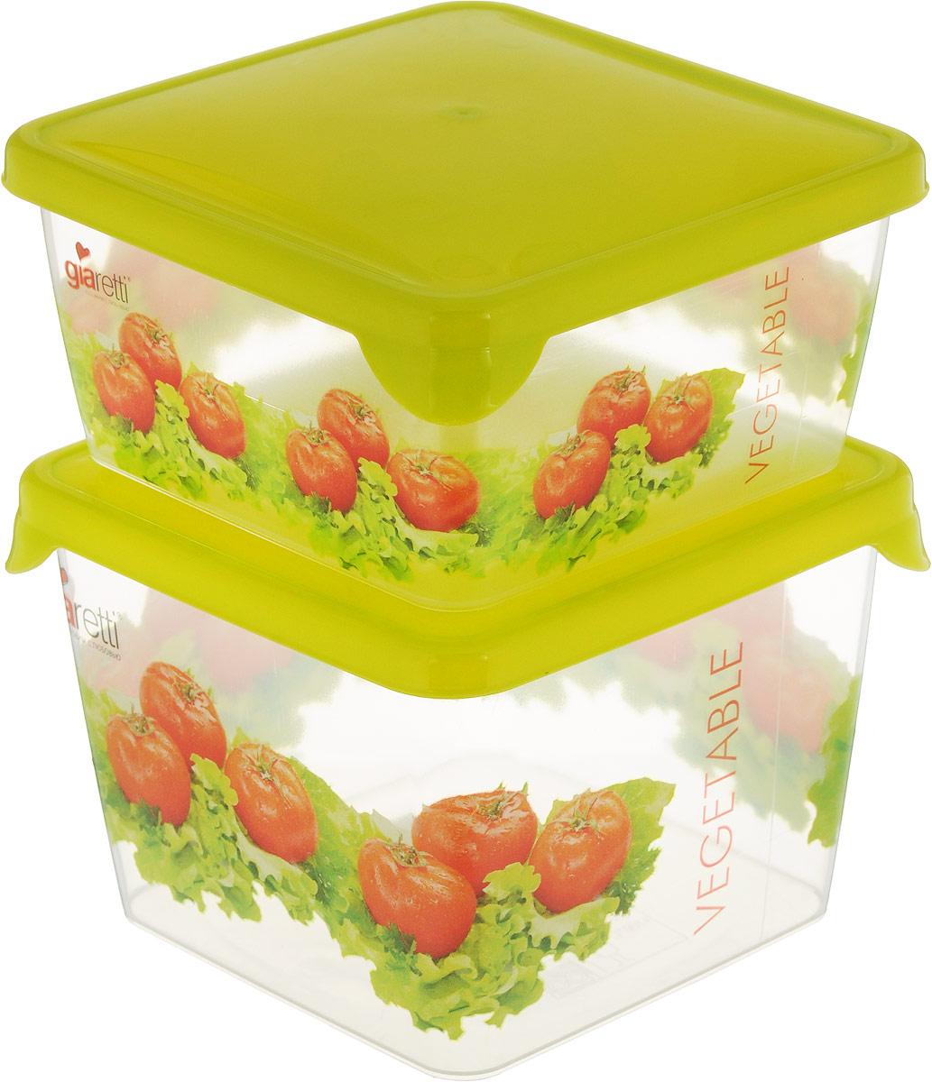 """Комплект емкостей для продуктов Giaretti """"Браво"""" состоит из 2 контейнеров. Емкости изготовлены из пищевого полипропилена и оснащены крышками, которые плотно закрываются, дольше сохраняя продукты свежими. Боковые стенки прозрачные, что позволяет видеть содержимое.  Емкости идеально подходят для хранения пищи, фруктов, ягод, овощей.  Такой комплект пригодится в любом хозяйстве. Легкие емкости одинаково удобно взять с собой или хранить продукты дома, замораживать ягоды и овощи небольшими порциями. Тонкий, но вместе с тем прочный пластик обеспечивает надежность изделий.   Объем: 450 мл, 750 мл."""