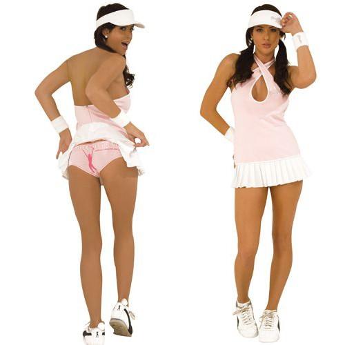 Костюм для ролевых игр женский Electric Lingerie Hustler Теннисистка, цвет: розовый. HC118-SM. Размер S/M (42/46)HC118Теннисное платье с длинной бретелью - можно перекрестить бретель на груди, а можно одеть классическим способом. Подол платья в мелкую складочку. В комплекте два белых напульсника с логотипом HUSTLER.
