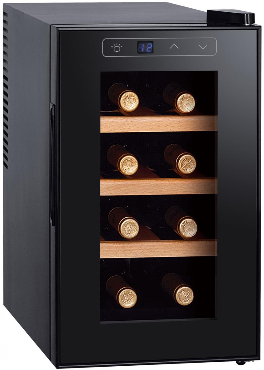 Gemlux GL-WC-8W, Black винный шкафGL-WC-8WХолодильный шкаф для вина GEMLUX GL-WC-8W, термоэлектрический (без компрессора), +7...+18оС, 21 л, 1 стеклянная дверца, подсветка, сенсорное управление с ЖК-дисплеем, 3 деревянные полки, вместимость 8 бутылок 0,75 л, цвет черный
