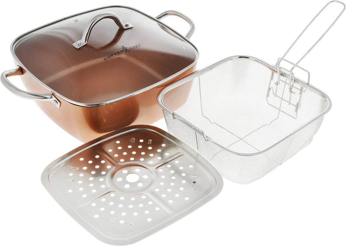 """Сотейник """"Copper Chef"""" изготовлен из высококачественного алюминия с антипригарным  керамическим покрытием. Благодаря керамическому покрытию пища не пригорает и не  прилипает к поверхности сотейника, что позволяет готовить с минимальным количеством  масла. Кроме того, такое покрытие абсолютно безопасно для здоровья человека.  Достоинства керамического покрытия:  - устойчивость к высоким температурам и резким перепадам температур; - устойчивость к коррозии;  - водоотталкивающий эффект;  - покрытие способствует испарению воды во время готовки;  - длительный срок службы;  - безопасность для окружающей среды и человека.  Изделие оснащено полыми ручками из нержавеющей стали и стеклянной крышкой с ручкой и  отверстием для выхода пара.  В комплект входят корзина для фритюра с ручкой и поддоном для варки на пару с ножками.  Изделия выполнены из нержавеющей стали. А также входит буклет с рецептами.   * Объем чаши в рецептах равен 250мл   Сотейник подходит для использования на газовых, электрических, стеклокерамических плитах,  а также на индукционных. Пригоден - для духовки без использования крышки. Можно мыть в  посудомоечной машине.  Эксклюзивный американский бренд """"Copper Chef"""", впервые вышедший на российский рынок! При  изготовлении посуды используется высокопрочное керамическое антипригарное покрытие,  которое является самой современной технологией в сфере изготовления керамических  покрытий. Посуда """"Copper Chef"""" подойдет как шеф-повару пятизвездочного ресторана, так и  простому любителю благодаря дизайну, безупречному качеству и доступной цене.  Размер сотейника по верхнему краю: 28 х 28 см. Размер дна: 24 х 24 см.  Высота стенки сотейника: 10,5 см.  Длина ручек: 4,5 см.  Размер корзины для фритюра (без учета ручек): 23,5 х 23,5 х 8,5 см.  Длина ручки корзины для фритюра: 17 см.  Размер поддона для варки на пару (без учета ножек): 23,8 х 23,8 см."""