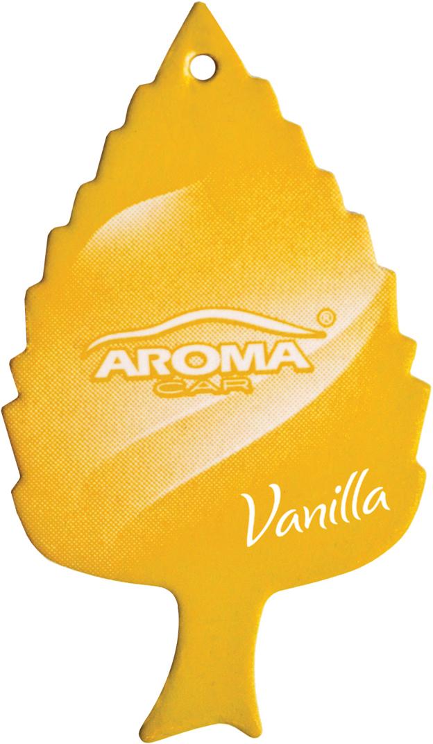 Ароматизатор автомобильный Aroma Car Leaf Vanilla, подвесной. AC9208992089Классическая популярная форма листика - неизменный хит продаж, деликатный аромат идеально подойдет в салон любого автомобиляБумажный освежитель, содержащий специально подобранные хлопчатобумажные волокнаУпаковка: картонный топ+ПП пакет
