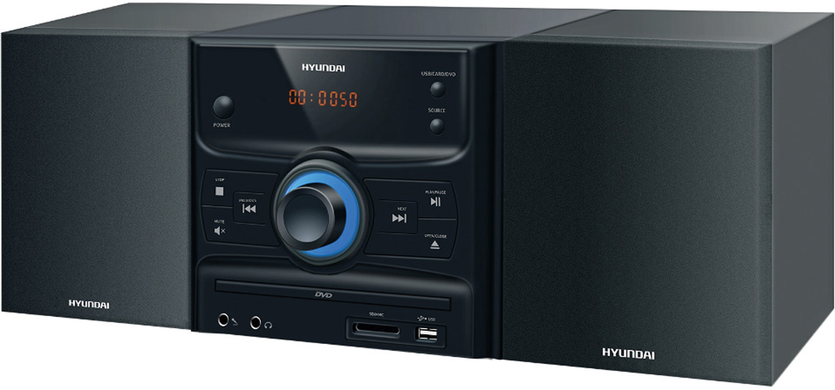 Hyundai H-MS260 музыкальный центрH-MS260Микросистема Hyundai H-MS260 черный/серебристый 30Вт/CD/CDRW/DVD/DVDRW/FM/USB/SD/MMC/MS