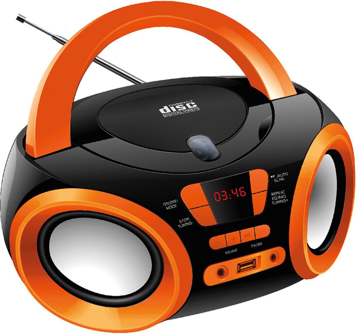Hyundai H-PCD120, Black Orange магнитола радиочасы hyundai h 1504 black orange