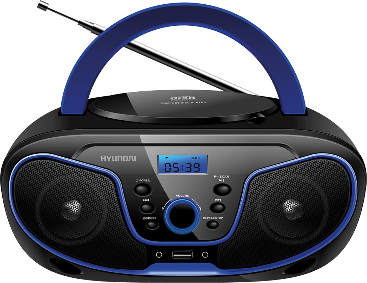 Hyundai H-PCD160, Black Blue магнитолаH-PCD160Аудиомагнитола Hyundai H-PCD160 черный/синий 4Вт/CD/CDRW/MP3/FM(dig)/USB
