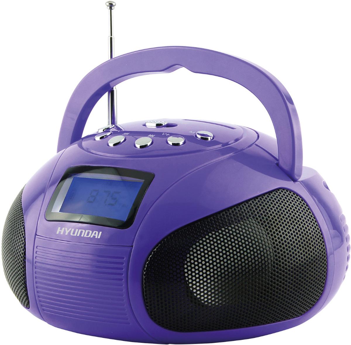 Hyundai H-PAS100, Violet магнитолаH-PAS100Аудиомагнитола Hyundai H-PAS100 фиолетовый 6Вт/MP3/FM(dig)/USB/SD