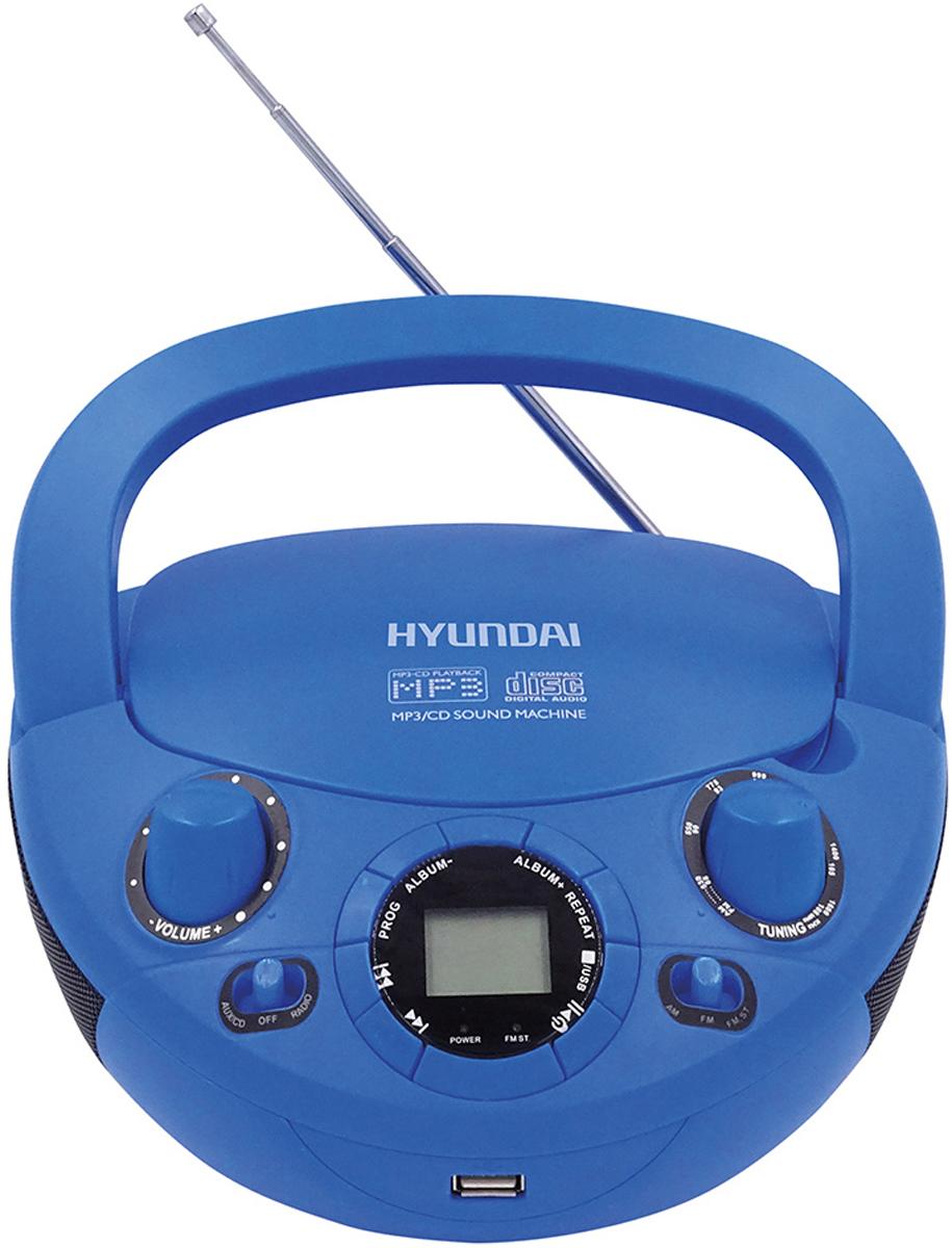 Hyundai H-PCD220, Blue магнитолаH-PCD220Аудиомагнитола Hyundai H-PCD220 синий 2Вт/CD/CDRW/MP3/FM(dig)/USB