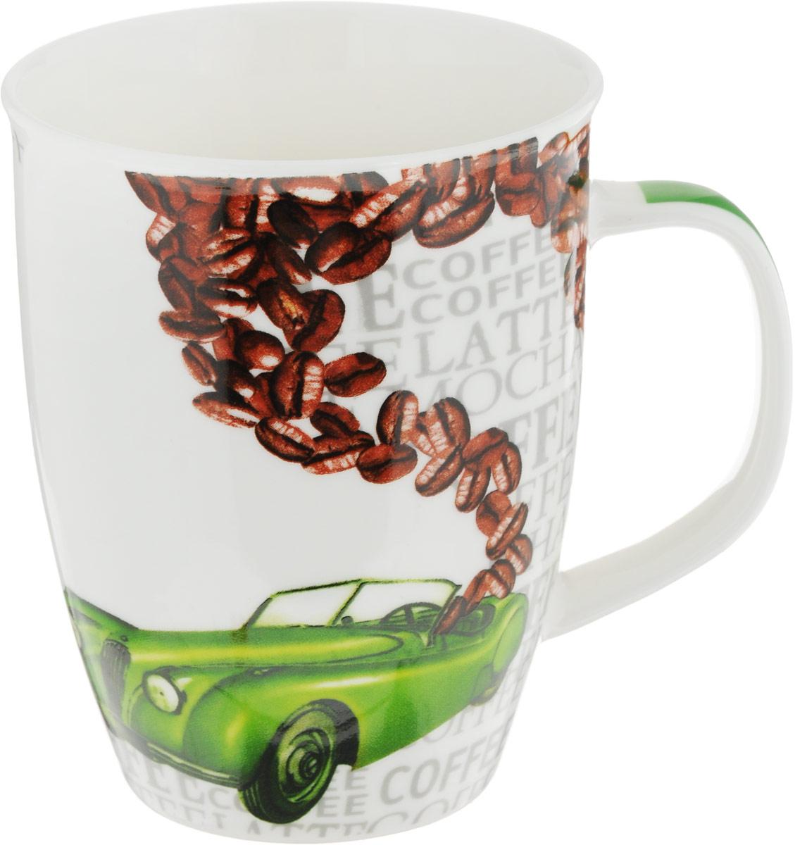 Кружка Loraine Автомобиль, цвет: зеленый, 340 мл кружка loraine автомобиль цвет желтый коричневый 340 мл