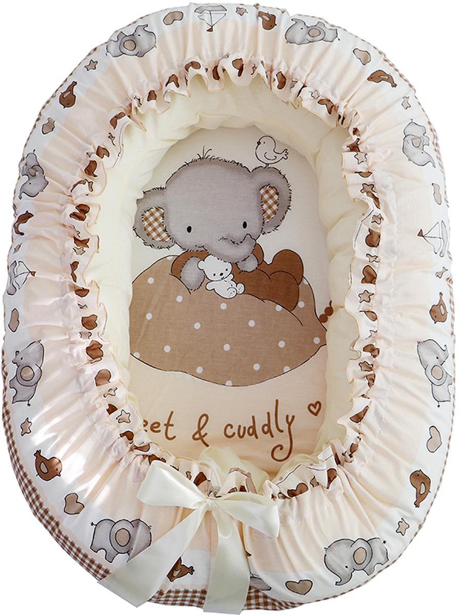 Подушка-валик гнездо Слоник Боня цвет бежевый - Детский текстиль