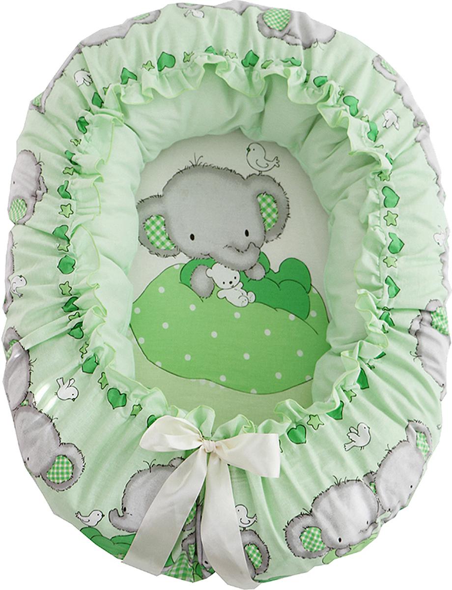 Подушка-валик гнездо Слоник Боня цвет зеленый - Детский текстиль