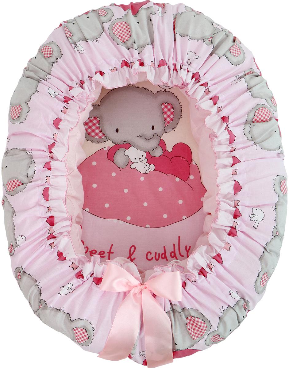 Подушка-валик гнездо Слоник Боня цвет розовый - Детский текстиль