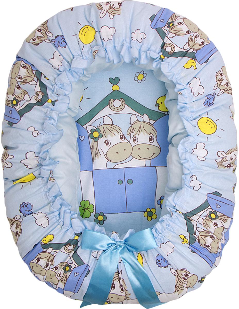 Подушка-валик гнездо Лошадки цвет голубой - Детский текстиль