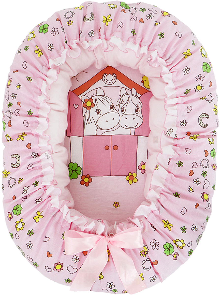 Подушка-валик гнездо Лошадки цвет розовый - Детский текстиль
