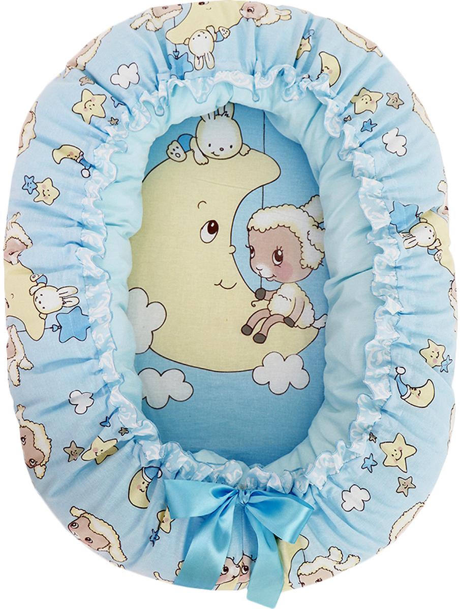 Подушка-валик гнездо Овечка на луне цвет голубой - Детский текстиль