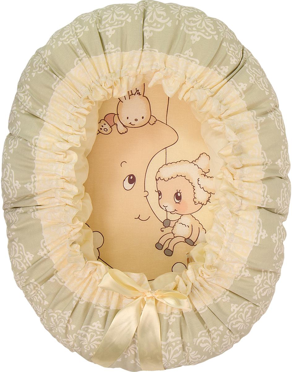 Подушка-валик гнездо Овечка на луне цвет бежевый - Детский текстиль