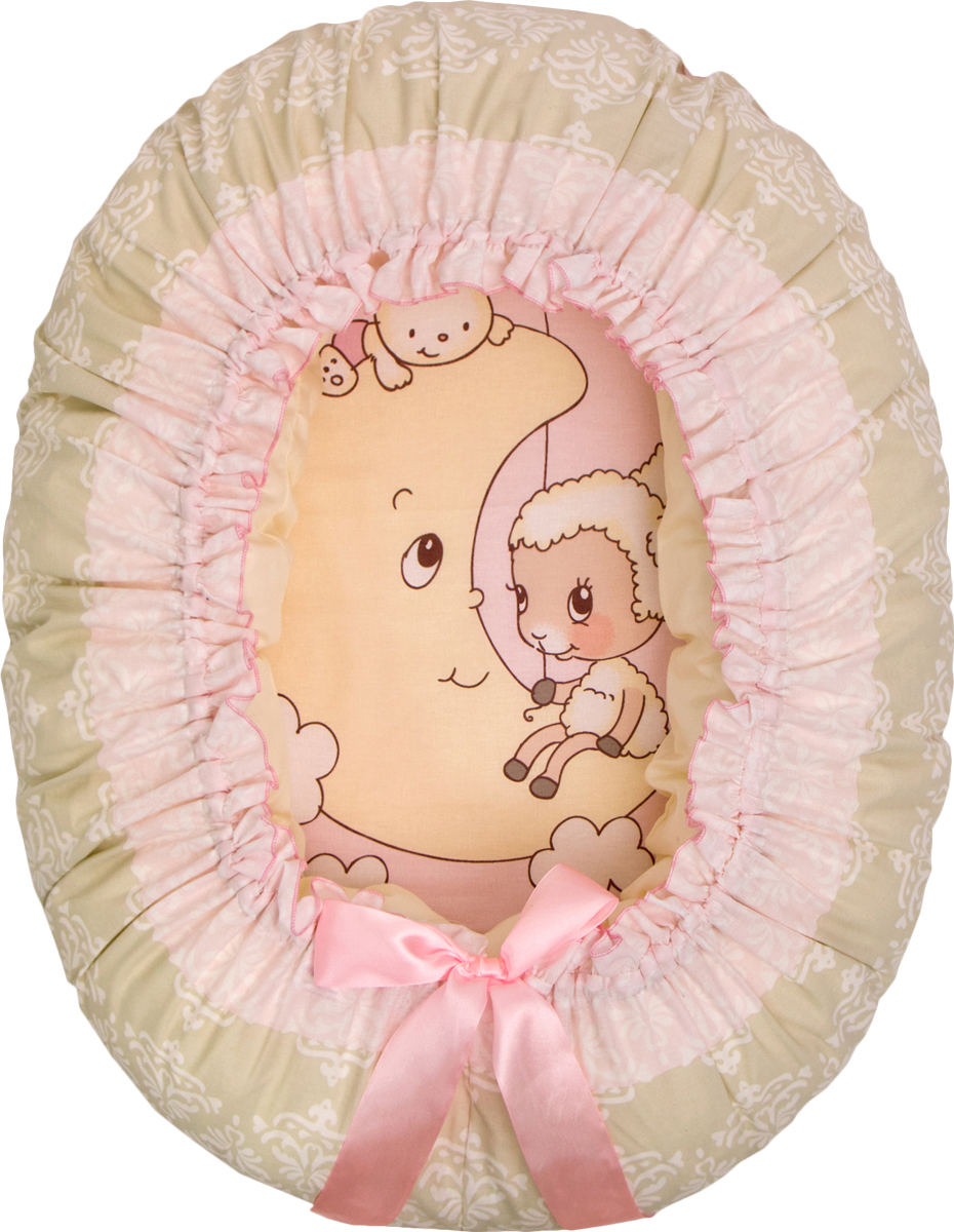 Подушка-валик гнездо Овечка на луне цвет розовый - Детский текстиль