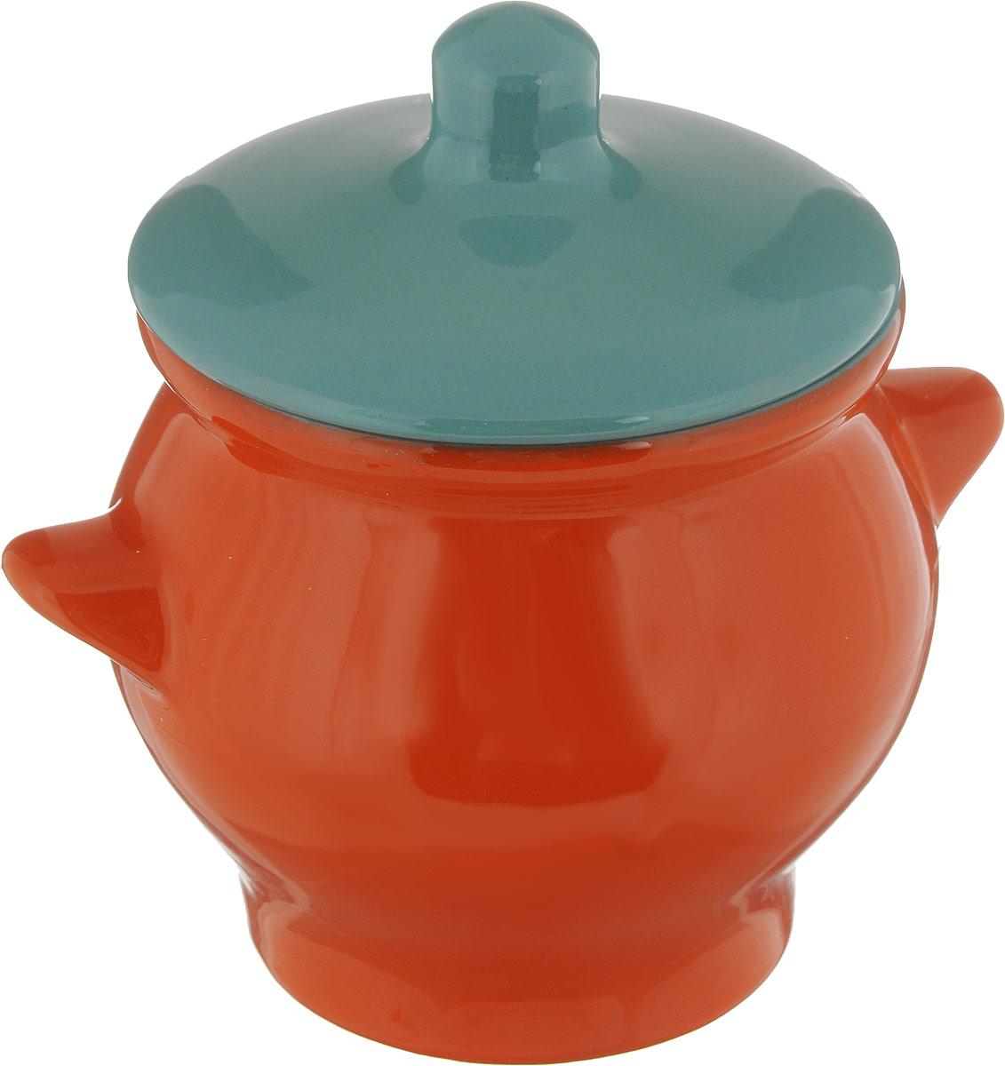 Горшок для жаркого Борисовская керамика Радуга, цвет: оранжевый, бирюзовый, 650 мл горшочек для жаркого борисовская керамика русский мрамор