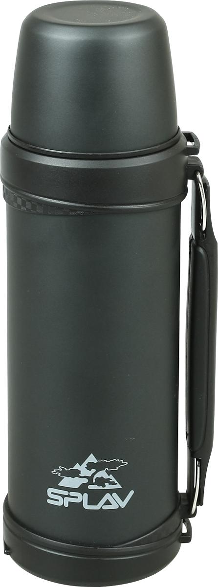 Термос Сплав, цвет: черный, 1 л. SY-10005082340Небьющийся термос для напитков с двойными стенками и вакуумной изоляцией выполнен из нержавеющей стали. Пробка открывается нажатием пальца - быстро и удобно. Крышка-чашка. Съёмный тонкий ремень. Удобная складываемая ручка. Лёгкий и удобный в переноске