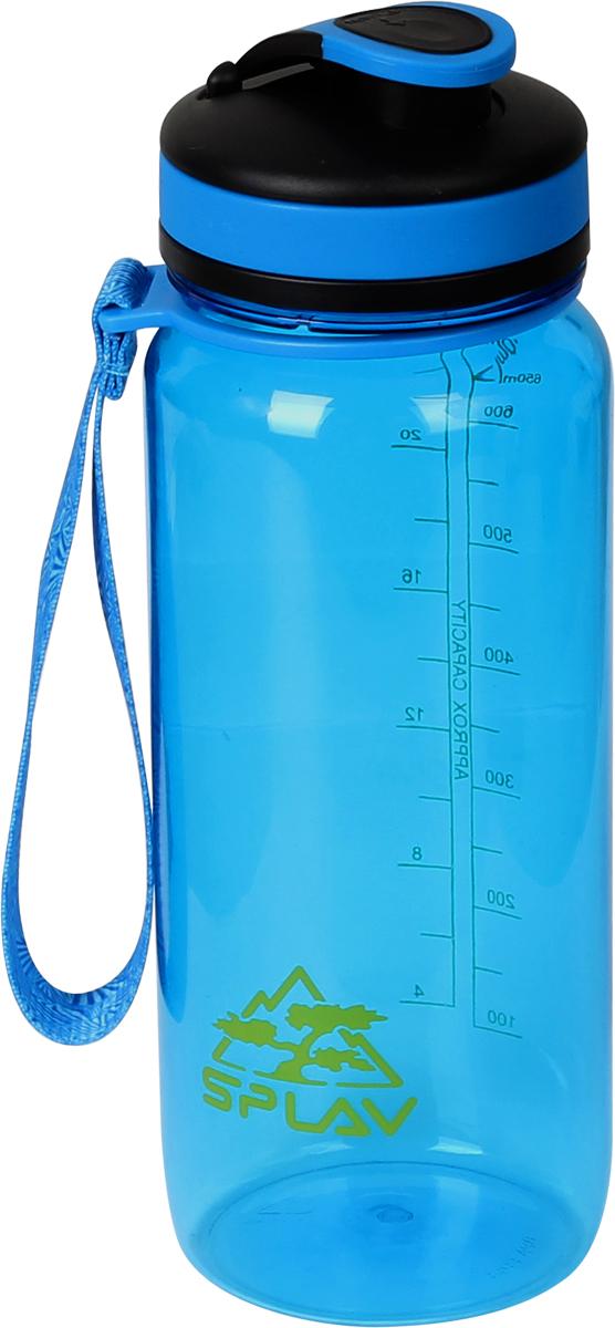 Фляга Сплав, цвет: голубой, 0,65 л. TR K-6505083860Фляга Сплав, изготовленная из тритана, дополнена мерной шкалой. Плотная крышка с ободком из силикона защитит содержимое от протекания и не потеряется благодаря ремешку.