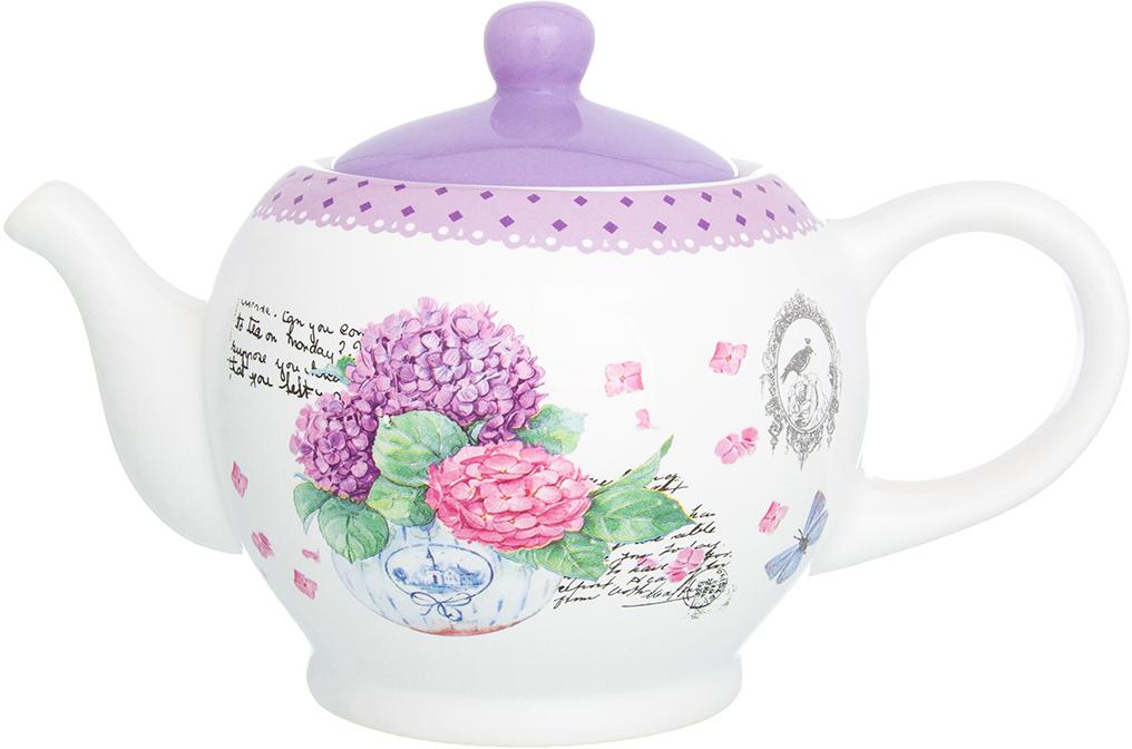 Чайник заварочный Elan Gallery Гортензия, цвет: белый, сиреневый, 950 мл720198Удобный и красивый чайник, несомненно, украсит собой домашнюю коллекцию посуды и станет прекрасным подарком любой хозяйке.