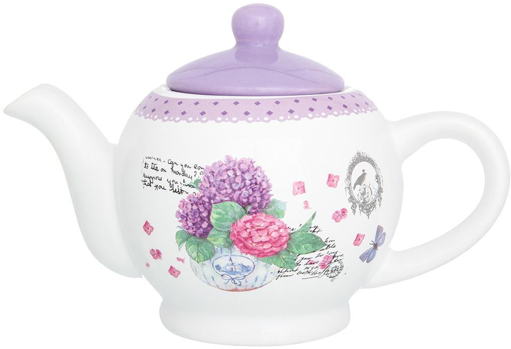Чайник заварочный Elan Gallery Гортензия, цвет: белый, сиреневый, 400 мл720204Удобный и красивый чайник, несомненно, украсит собой домашнюю коллекцию посуды и станет прекрасным подарком любой хозяйке.