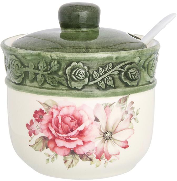 """Великолепная сахарница Elan Gallery """"Розы"""", выполненная из  высококачественной керамики, оформлена ярким изображением. К сахарнице прилагается  крышка и оригинальная ложка. Сахарница универсальна, подойдет не только для сахара, но и для меда, варенья, и для специй. Эксклюзивный дизайн и функциональность сахарницы сделает ее незаменимой на  любой кухне. Объем сахарницы: 300 мл."""
