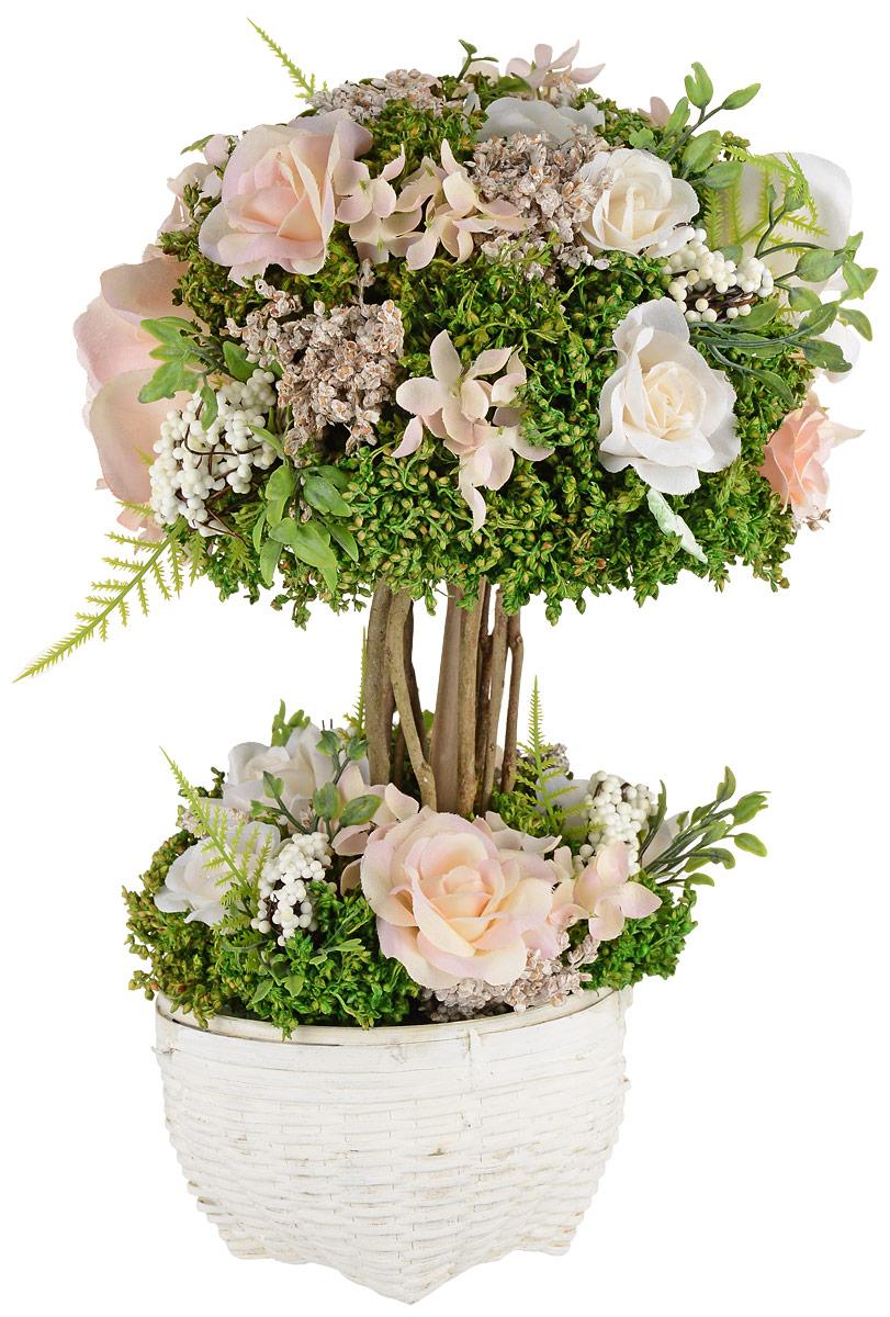 Композиция цветочная, 19 x 19 x 33 см, цвет: розовый79059Композиция цветочная NoName - это прекрасная возможность украсить, оживить любой интерьер.