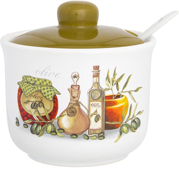 Сахарница Elan Gallery Оливковое масло, с ложкой и крышкой, 300 мл сахарница elan gallery лимоны с ложкой и крышкой 375 мл