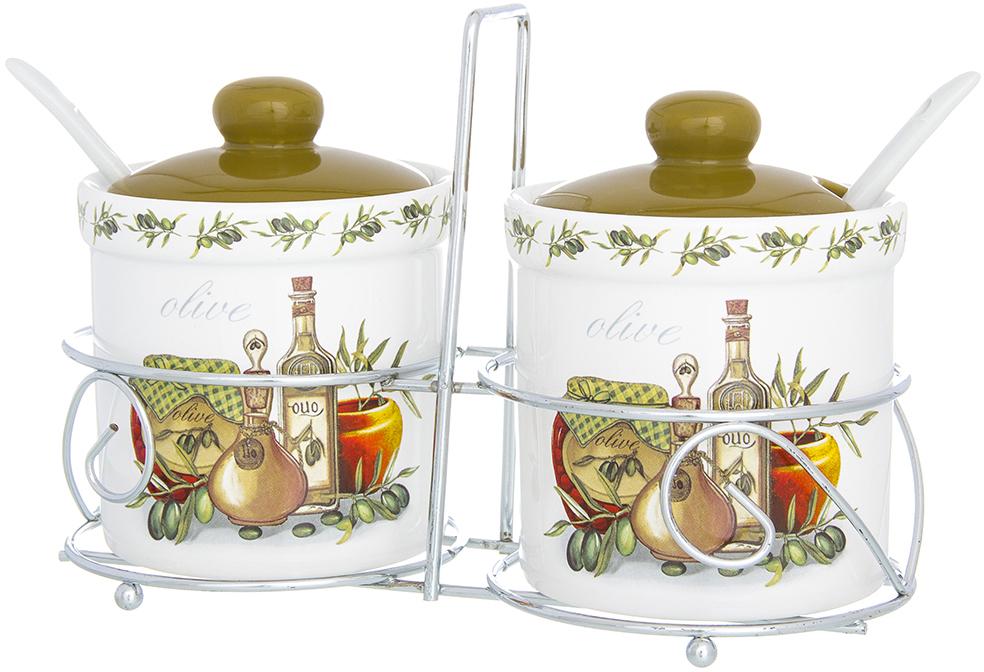 """Набор """"Elan Gallery"""" состоит из 2 изящных керамических емкостей с крышками расположенных на удобной металлической  подставке. В такие емкости можно засыпать сахар, соль и многое другое. Они нужны, чтобы продукты не теряли свой естественный вкус и аромат. Оригинальный набор банок """"Elan Gallery"""" станет незаменимым помощником на кухне любой хозяйки, а так же станет прекрасным украшением вашего стола."""