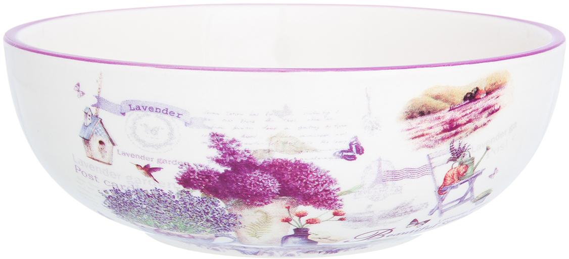 Салатник Elan Gallery Лаванда, цвет: белый, сиреневый, 770 мл салатник elan gallery белый шиповник 850 мл