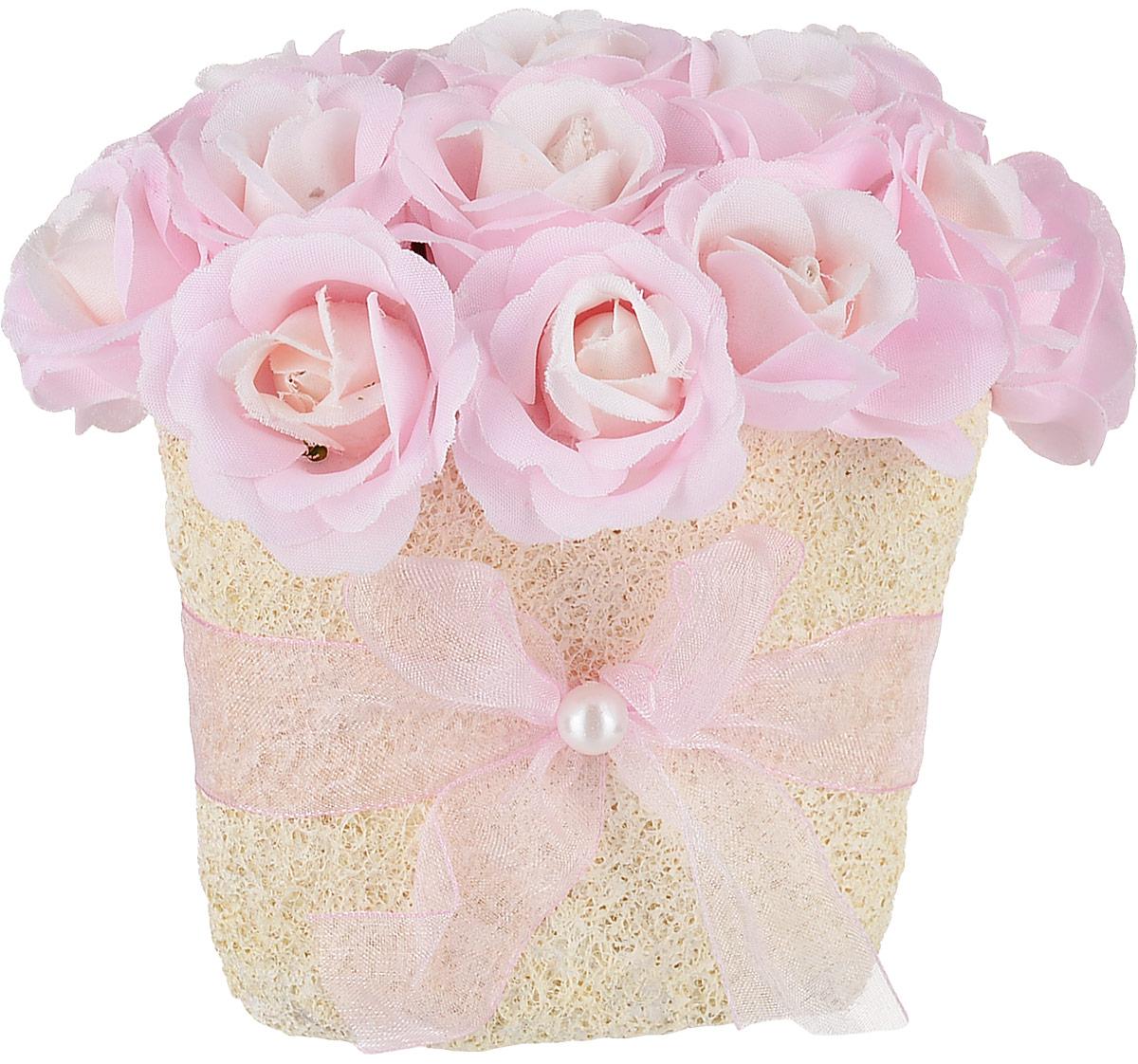 Композиция цветочная, 13 x 10 x 11 см, цвет: светло-розовый79061Цветочная композиция NoName - это прекрасная возможность украсить, оживить любой интерьер.