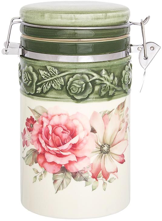 Банка для сыпучих продуктов Elan Gallery Розы, с крышкой, с зажимом, 770 мл720303Банка для сыпучих продуктов Elan Gallery изготовлена из прочной керамики высокого качества. Изделие оформлено красочным изображением. Гладкая и ровная глазурованная поверхность обеспечивает легкую очистку. Банка прекрасно подойдет для хранения различных сыпучих продуктов: специй, чая, кофе, сахара, круп и многого другого. Крышка плотно закрывается с помощью металлического зажима-клипсы, дольше сохраняя свежесть продуктов.Яркий дизайн подарит вам хорошее настроение и украсит вашу кухню!