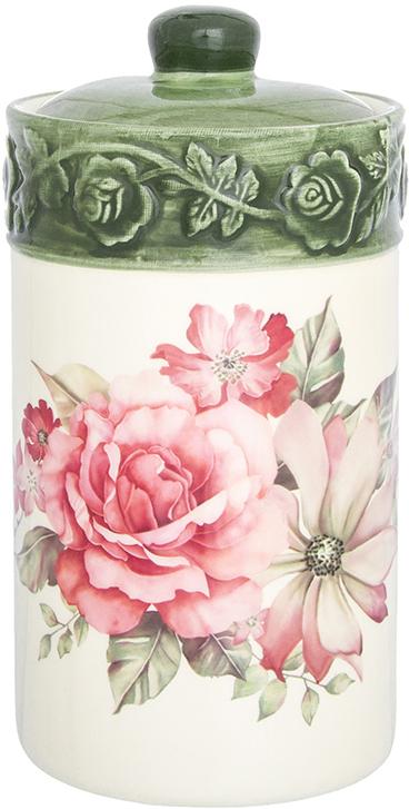 Банка для сыпучих продуктов Elan Gallery Розы, с крышкой, 800 мл720321Банка для сыпучих продуктов Elan Gallery изготовлена из прочной керамики высокого качества. Изделие оформлено красочным изображением. Гладкая и ровная глазурованная поверхность обеспечивает легкую очистку. Банка прекрасно подойдет для хранения различных сыпучих продуктов: специй, чая, кофе, сахара, круп и многого другого. В комплекте идет крышка, что помогает дольше сохранять свежесть продуктов.Яркий дизайн подарит вам хорошее настроение и украсит вашу кухню!