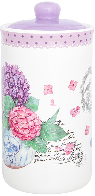 Банка для сыпучих продуктов Elan Gallery Гортензия, с крышкой, цвет: белый, сиреневый, 800 мл720323Банка для сыпучих продуктов Elan Gallery изготовлена из прочной керамики высокого качества. Изделие оформлено красочным изображением. Гладкая и ровная глазурованная поверхность обеспечивает легкую очистку. Банка прекрасно подойдет для хранения различных сыпучих продуктов: специй, чая, кофе, сахара, круп и многого другого. В комплекте идет крышка, что помогает дольше сохранять свежесть продуктов.Яркий дизайн подарит вам хорошее настроение и украсит вашу кухню!