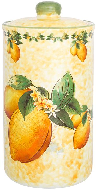 Банка для сыпучих продуктов Elan Gallery Лимоны, с крышкой, 800 мл720324Банка для сыпучих продуктов Elan Gallery изготовлена из прочной керамики высокого качества. Изделие оформлено красочным изображением. Гладкая и ровная глазурованная поверхность обеспечивает легкую очистку. Банка прекрасно подойдет для хранения различных сыпучих продуктов: специй, чая, кофе, сахара, круп и многого другого. В комплекте идет крышка, что помогает дольше сохранять свежесть продуктов.Яркий дизайн подарит вам хорошее настроение и украсит вашу кухню!