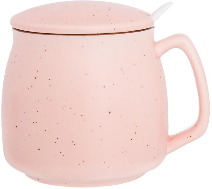 Кружка Elan Gallery Розовая, с ложкой и крышкой, цвет: розовый, 380 мл720335Кружка с ложкой классической формы с удобной ручкой прекрасно подойдет для любых напитков, а крышка позволит вашему напитку дольше оставаться горячим. Не оставит равнодушным ни одного из Ваших гостей и станет прекрасным выбором для подарка.