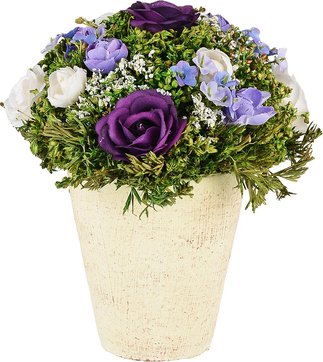 Композиция цветочная, диаметр 14 см, 16 см, цвет: сиреневый79041Композиция цветочная NoName - это прекрасная возможность украсить, оживить любой интерьер.