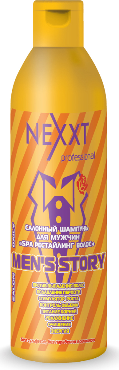 Nexxt Professional Салонный шампунь для мужчин SPA рестайлинг волос, 1000 млCL211156Шампунь с мужским характером против выпадения волос имеет в своем составе несколько активных компонентов. Экстракты таких трав как лопух и крапива – улучшают состояние волосяных луковиц, способствуют росту новых волосков. Провитамин В5, он же пантенол – стимулирует выработку коллагена и эластина, увлажняет волосы, оберегает их от расслаивания. Экстракт каштана - улучшается кровообращение, улучшается питание волосяных луковиц. Лецитин –волосы начинают блестеть, стают более эластичными, меньше ломаются. Масло чайного дерева – обеззараживает, успокаивает кожу головы, нормализирует работу сальных желез. Протеины ростков пшеницы укрепляют волосы. Маковое масло – улучшает структуру кожи головы, отлично увлажняет волосы. Мужской шампунь восстанавливает обменные процессы внутри волосков и способствует их росту. Не содержит парабенов и сульфатов.