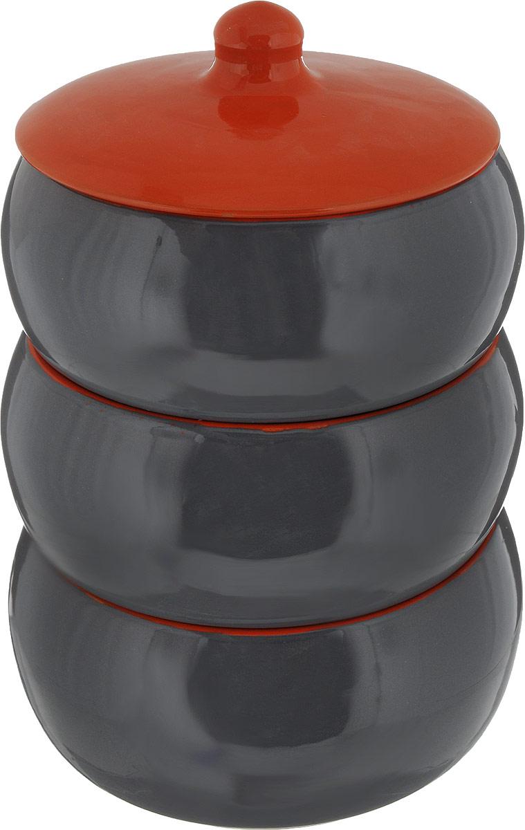 Набор столовой посуды Борисовская керамика Русский, цвет: серый, оранжевый, 4 предметаРАД14456972_серый, оранжевыйНабор Борисовская керамика Русский, выполненный извысококачественной глазурованной керамики, состоит из трех мисок и крышки. Внутреннее ивнешнее покрытие изделий изготовлено изэкологически чистых природных материалов.Такой набор станет отличным подарком и обязательнопригодится в любом хозяйстве. Объем миски: 2,7 л.